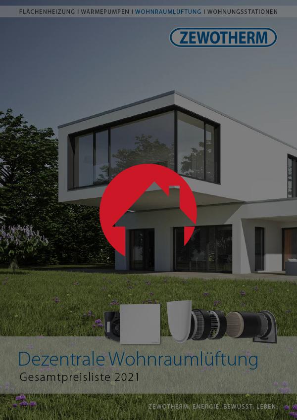 Zewotherm Dezentrale Wohnraumlüftung Gesamtpreisliste 2021