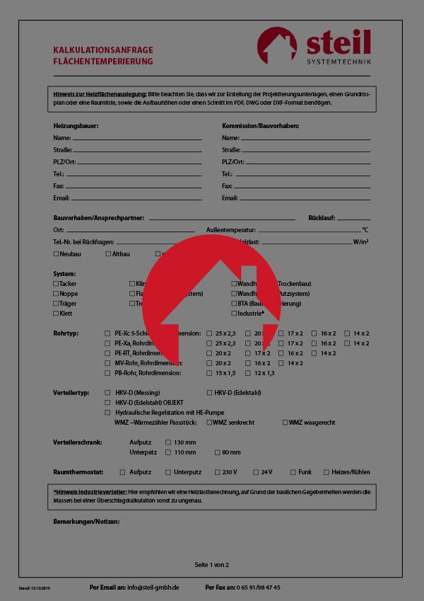 """Kalkulationsanfrage """"Flächentemperierung"""", Steil Systemtechnik"""