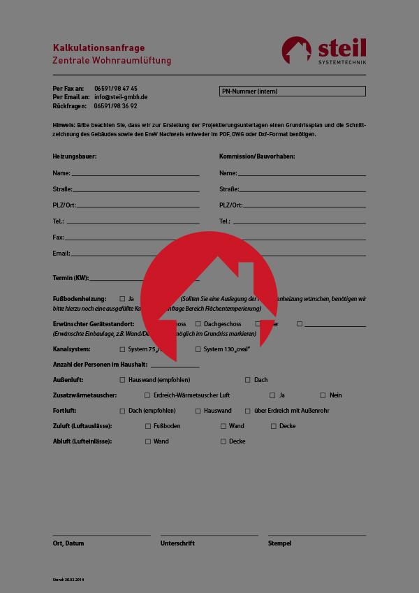 """Kalkulationsanfrage """"Zentrale Wohnraumlüftung"""", Steil Systemtechnik"""