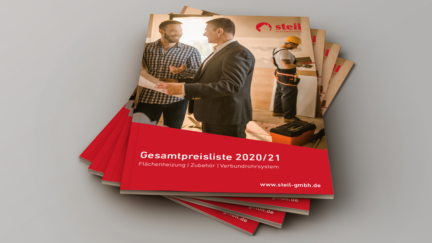 """Gesamtpreisliste """"Flächenheizung, Zubehör, Verbundrohrsystem 2020/21"""", Steil Systemtechnik"""